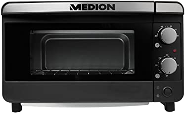 MEDION Mini Toastofen Pizzaofen (1200 Watt, bis zu 28 cm Pizza, 13 Liter Volumen, 100-200 Grad, Doppelglastür, Krümelblech) MD 15720 Schwarz-Silber