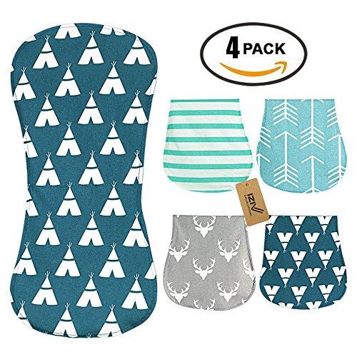 iZiv 4er Set Baby Burp Tücher Babys Fütterung Pflege Handtuch Zubehör, 3 Schichten Absorbent Druck Soft Cotton für 0-2 Jahre(Farbe-3)
