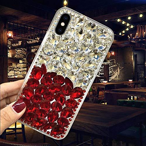 Misstars Luxe Diamant Coque pour Huawei P8 Lite 2017, Transparente Bling Glitter Housse de Protection Souple TPU et Hard PC Arrière Antichoc Anti-Rayures pour Huawei P8 Lite 2017, Argent+Rouge