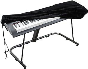 Abdeckung für Klaviertastatur , Stretch-Samt Schutzabdeckung mit verstellbaren, elastischen Schnur und Verriegeln für 61 Tasten-Tastatur, Digitalpiano , Yamaha, Casio, Roland, Konsolen und mehr (schwarz)