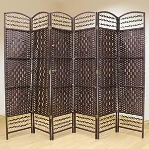 hartleys paravent en osier fait la main 6 panneaux marron fonc cuisine maison. Black Bedroom Furniture Sets. Home Design Ideas