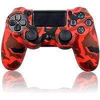 Cover in silicone per Controller Sony PS4 Dualshock 4, colore rosso e nero, stile militare