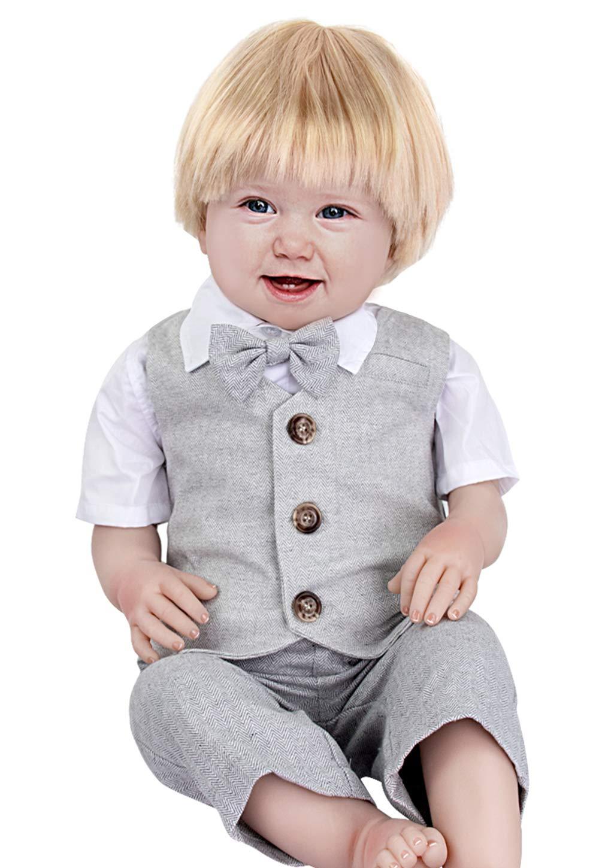 mintgreen Conjunto Camisa de Manga Corta Bebé Niños, Traje Caballero con Pajarita Chaleco, 3 Piezas Tamaño: 1-5 Años 2
