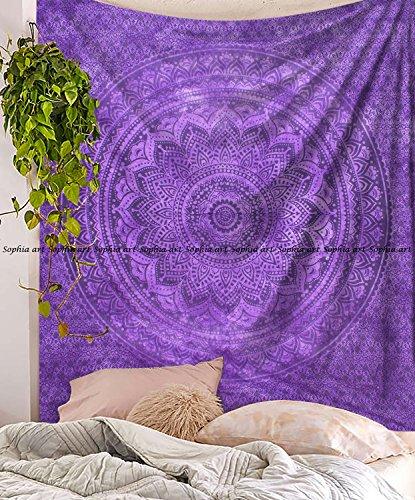 Tapisserie–Zum Aufhängen Violett TYE Dye Ombre Mandala Wandteppiche–Bohemian Beach Picknick Decke–Hippie Dekoratives und Psychedelic Wohnheim Decor–213,4x 218,4cm ()
