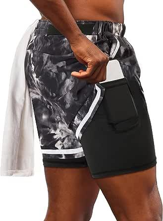 PJ PAUL JONES Men's 2 in 1 Running Shorts Tie Dye Gym Athletic Workout Shorts