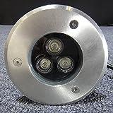 SAILUN® 4 x 3W LED Bodeneinbaustrahler Edelstahl rund Bodenleuchte AC 230V IP68 270Lumen Für Aussen Wegbeleuchtung Garten Terrasse Treppen (4 Stücke) Vergleich