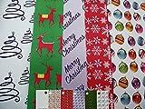 10 hojas de papel de regalo para Navidad, diseño contemporáneo, diseño de copo de nieve, árbol de Navidad, estrellas, bolas, renos y 5 etiquetas (2 hojas de 5 diseños).