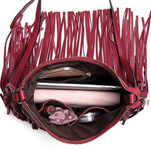 UTO Borsa a Tracolla Donna Lo stile della Boemia Nappe per Vacanze estive La spiaggia borsa con PU Pelle Sintetica Rosso