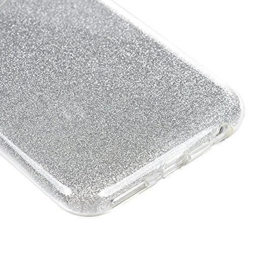 iPhone 6 Plus 6S Plus Hülle Glitzer KASOS Handyhülle für iPhone 6 Plus 6S Plus TPU Case Cover huelle mit 3 Schichten (Soft TPU + Glitzerfolie + Hard Inner ) Premium Bling Case Silikonhülle Design, Sil Silber