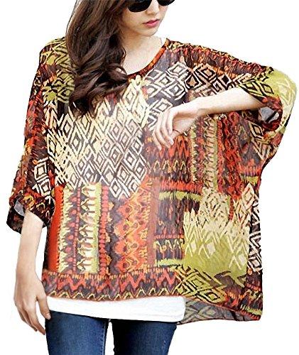 Camicetta Donna Elegante - BienBien Blusa in Chiffon Maglietta Manica 3/4 Bohemian Lunga Estate T Shirt con Stampa Chiffon A8