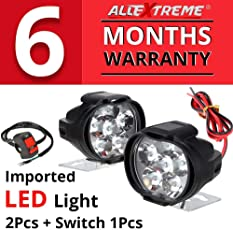 AllExtreme EX6FL2P SHILAN Imported 6 LED Fog Light Mirror Mount Driving Spot Head Lamp with Switch for Motorcycle and Cars (10W, White, 2 PCS)
