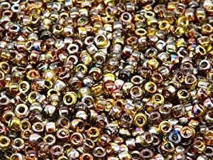 MATUBO Tschechische Glasperlen 7/0 (3,5 mm), 10gr (ca. 220 stk), Farbe: Magic Yellow-Brown