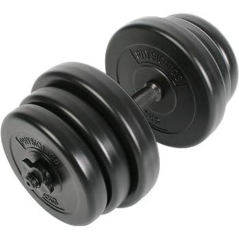 Physionics Juego de Mancuerna de Fitness y Pesas   20KG   Pesas Musculación Discos y Barra