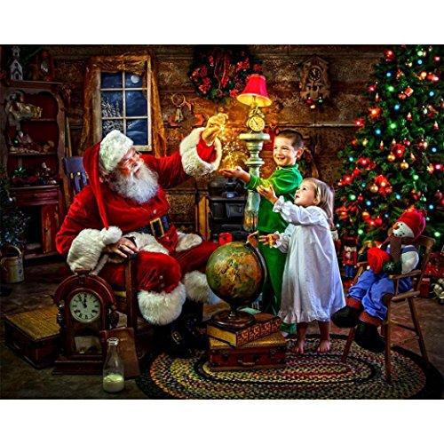 Riou DIY 5D Diamant Painting Voll ,Stickerei Malerei Diamant Weihnachtsmann Muster Weihnachten Strass Stickerei Bilder Kunst Handwerk für Home Wall Decor gemälde Kreuzstich (Mehrfarbig, 30 * 40cm) -
