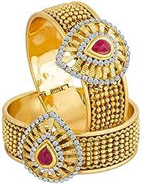 Aadita Traditional Gold Plated Kundan Kada / Bracelet For Women DT2086BG