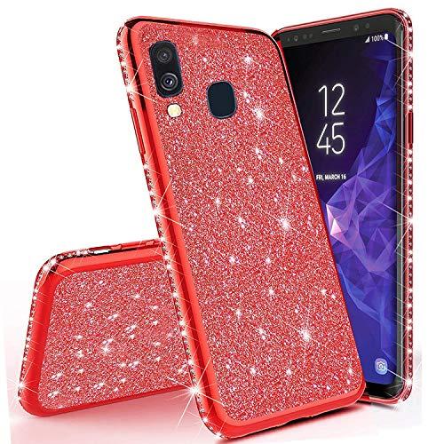 Miagon für Samsung Galaxy A30 Glitzer Hülle,Bling Überzug Glänzend Strass Diamant Weich TPU Silikon Handy Hülle Etui Tasche Schutzhülle Case Cover