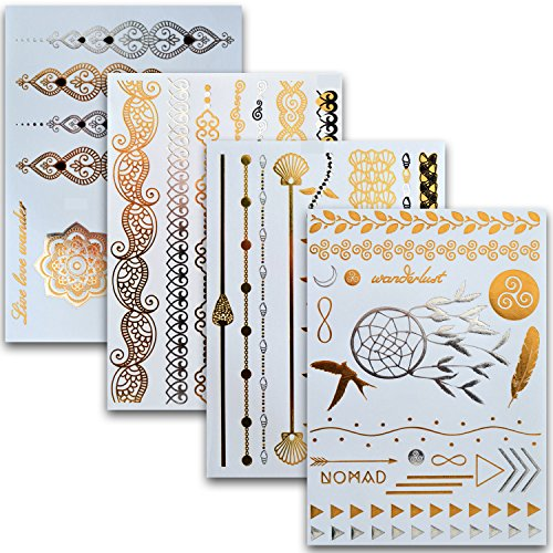 Flash Tattoos 4er Set mit 46 Motiven – Temporäre metallic Klebe-Tattoos in Gold und Silber – Perfekt als Körper-Schmuck für den Urlaub oder als Geschenk für Mädchen und junge Frauen – von Ahimsa Glow®