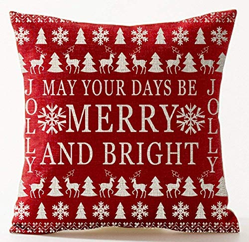 Xukmefat Season's Blessing Bohemian Style Snowflake May Your Days Be Merry and Bright Tree Deer in Red Cotton Linen Decorative Home Office