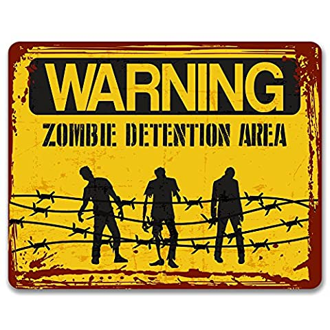 Warning Zombie Detention Area - Vintage Effect Metal Sign / Plaque
