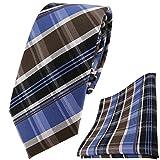 schmale TigerTie Krawatte + Einstecktuch braun blau silbergrau schwarz anthrazit gestreift