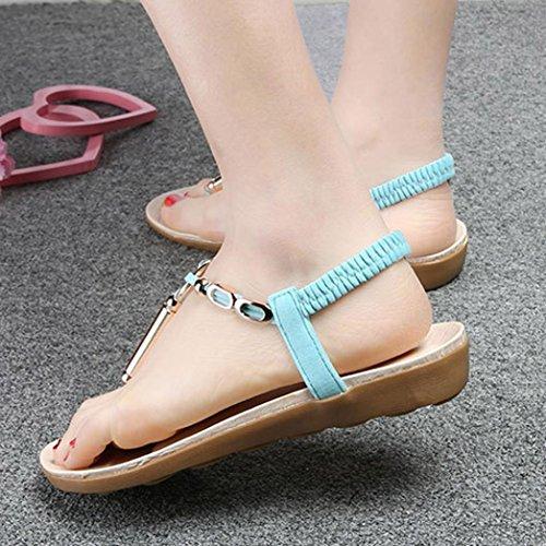 Hunpta Frauen flache Schuhe Bead Böhmen Freizeit Lady Sandalen Peep-Toe Flip Flops Schuhe Blau