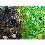600pcs Knopf Harz Bastelknöpfe DIY Knöpfe für Nähen Handwerk Scrapbooking Deko Handgefertigte Verzierung Zufällig Mix Grün