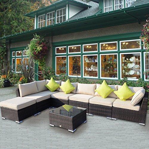 Outsunny Rattansofa für den Garten Aluminium Outdoor Terrasse Set Geflecht Sofa-Set-Sitzer Fire beständig Schwamm braun + Tisch Kissen bereits montiert