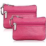 Hibate 2x Rosa Mini Portamonete in pelle per Uomo Donna Bambini con Zip e Portachiavi