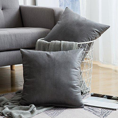 Miulee set of 2 cuscini divano decorativo ecopelle fodere cuscini lussuoso arredo casa per divano letto auto 18 x18 pollici 45 x 45 cm grigio