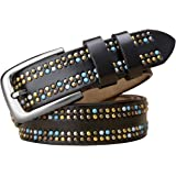 DDL Signore Rivetto Design Cintura Blu Vero Vacchetta Pelle Lungo 95/115 Donne Cintura 1,1inch Largo Ragazza Women Belt Argen