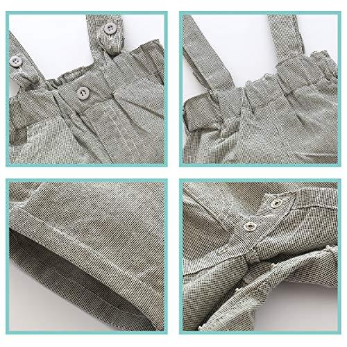 4bc777175 E.life Traje de bebé niño 2pcs caballero camiseta Top tirantes Strap Shorts.