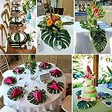 SEVENHOPE 12 Stück Künstlich Tropische Blätter Palmblatt Palme Monstera Deko für Hawaii Luau Jungle Beach Theme Party Dekoratione - 2