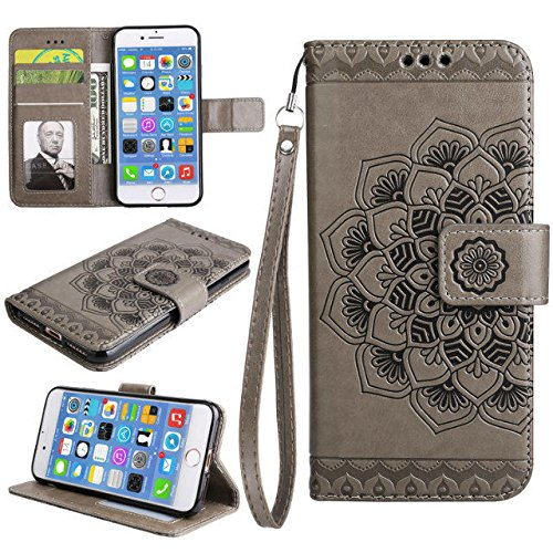 GR iPhone 7-Bright Niedliche Blumen Blume geprägte Muster Ledertasche horizontale Folio Flip Stand Case Brieftasche Pouch Cover Case mit Lanyard und Kreditkarte Cash Slots ( Color : Purple ) Gray