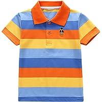 Minuya T Shirt enfant Garcon, Coton Rayé Polo Shirts Ete Tops Chemises Classiques 2-6 Ans