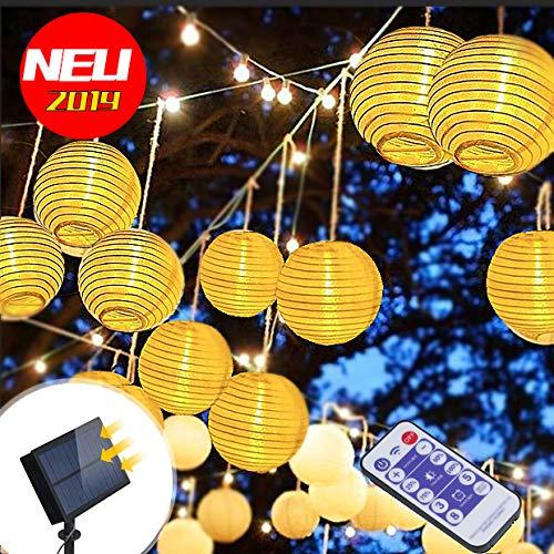Solar Lichterkette Aussen die Fernbedienung 3m 20 LED 5.5V Upgrade hohe Leistung Farbig Lichterkette Lampions, LED Laterne String Lights für Party, Zuhause sowie Garten, Balkon, Terrasse, Fenster (Led-party-laterne)