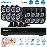 KKmoon 16 Channel CCTV DVR Camera System with 8x Dome & 8x Bullet Cameras 1080P HD DVR Video Surveillance Security System Weatherproof IP66 960H/D1