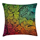 Colorful Throw Pillow Cushion Cover by, Rainbow Abstract Ombre Colored Floral Like Wave Lines Ocean Nature Inspired Print, Decorative Square Accent Pillow Case, 18 X 18 Inches, Multicolor
