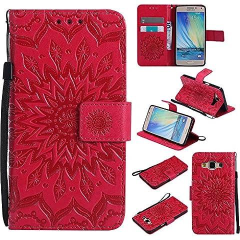 Lonchee Samsung Galaxy A5 Leder Wallet Tasche Brieftasche Schutzhülle , Sonnenblumen geprägten Muster Design Hochwertige PU Leder Folio Tasche Case Hülle im Bookstyle mit Standfunktion Kredit Kartenfächer