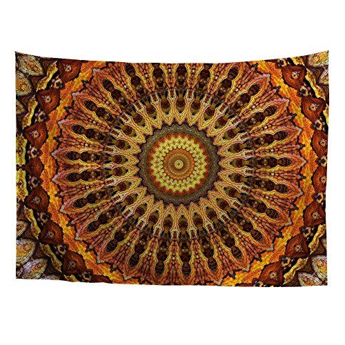 Coloranimal International Indischen Hippie Bohemian Psychedelic Mandala-Wand-Set, Polyester-Mischgewebe, View-1, 129cm x 152cm(50.79in x 59.84in)