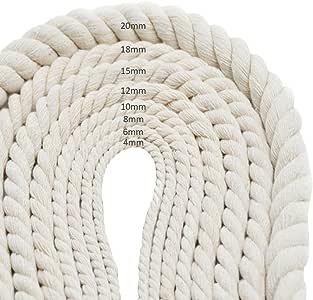 /À la main DIY Off-white Corde De Coton /À Tricoter Tress/é Fil D/écoratif Bagage Cordon Rideau Tied Rope Arts Artisanat Jardin Ficelle SAWEY