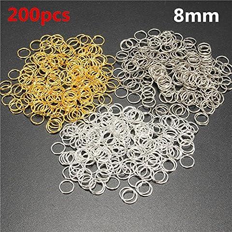 Calli 200pcs il salto di 8 mm suona scoperte di metallo di cerchio di connettori aperte diy gli accessori