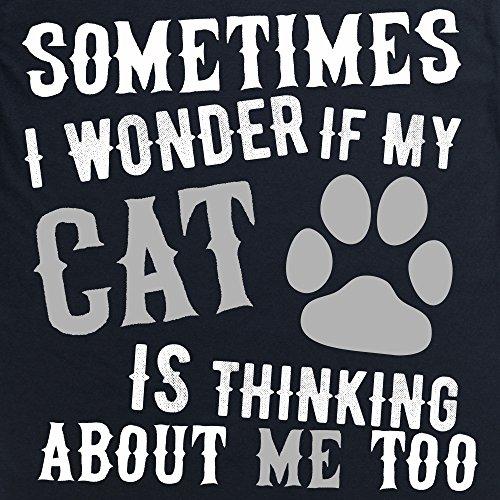 I Wonder If My Cat Langarmshirt, Herren Schwarz