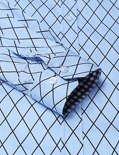BURLADY Herren Hemd Slim Fit Diamant-Gitter Karohemd Kariert Langarmshirt Freizeit Business Party Shirt für Männer 10-Blau