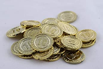Amit Marketing Gold Numerical Coins No. 10 (Pack of 100 Pic)
