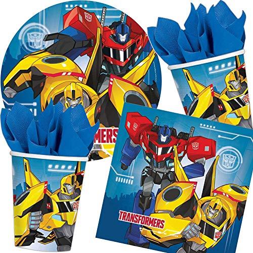 Amscan/Carpeta 37-TLG. Party-Set * Transformers * mit Teller + Becher + Servietten | Optimus Prime Bumblebee Deko Kinder Geburtstag Motto Kindergeburtstag Mottoparty (Party Transformers Dekorationen)