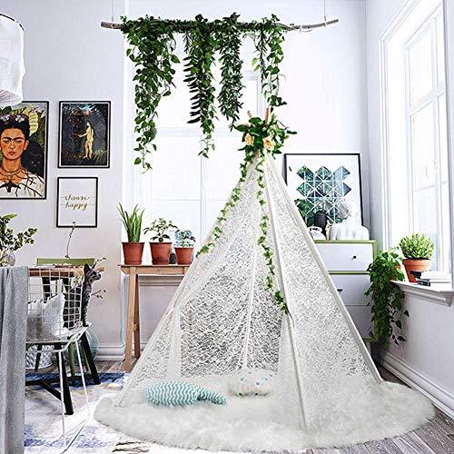 Jannyshop Luxus Indian Spitze Kinderzelt mit Massivholzpfosten Tipi Zelt Faltbares Dekor Schlafzimmer Weiß