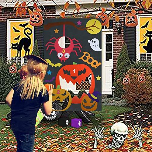 Qpout Halloween Party Wurfspiel Sandsäcke Werfen Spiele für Kinder, mit 3 Sitzsäcken Halloween Sandsäcke Wurfspiele Sitzsack Toss Games für Kinder Halloween Indoor Outdoor Spiele Requisit Dekoration
