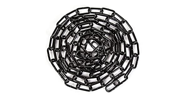 10 2.5mm x 24mm x 5mm THICK BLACK COATED DECORATIVE STEEL WELDED CHAIN LINKS HANGING FENCE LONG MAXIMUM WORK LOAD 30kgs FREE UK DELIVERY