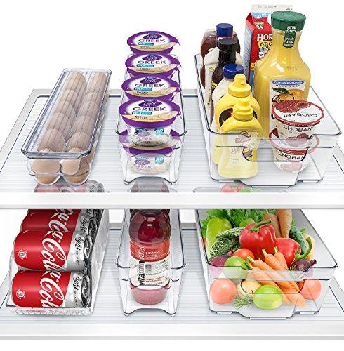 Hersbrucker Kühlschrank Tonnen und Gefrierschrank Organizer Kühlschrank Tonnen stapelbar Container BPA frei Schublade Organisatoren für Kühlschrank Gefrierschrank und Pantry Aufbewahrung -