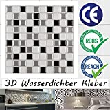 ECOART Selbstklebende 3D Fliesenaufkleber Wasserdicht Selbstklebend f¡§1r K¡§1che und Bad - 25,4x25,4cm - Masaik - Schwarz, Grau und Wei? - 6er-Set